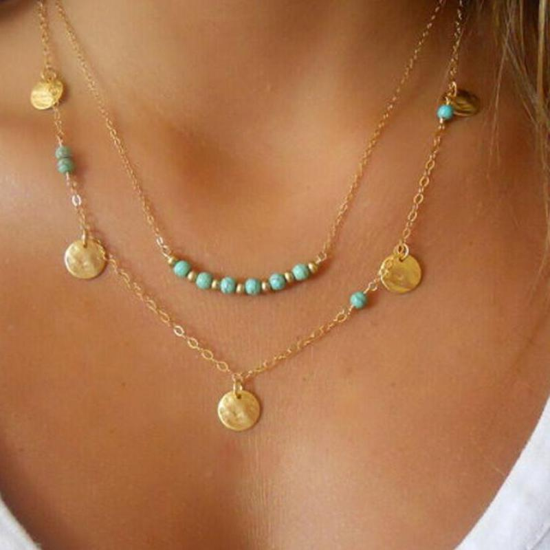 Coin-Beads-Chains Necklace Charm Multilayer Green Pendant Ladies Jewelry Retro Bohemian