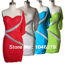 Sexy Summer Fashion Women's Dress One Shoulder Mini Strapless Sequined Dresses White Green Slim Hip Pencil Dress