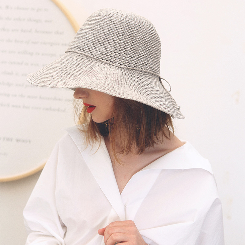 Bekleidung Zubehör Kopfbedeckungen Für Damen Aufstrebend Maxsiti U Handgestrickte Papier Stroh Eimer Hüte Weibliche Sommer Reise Und Freizeit-wie Hut
