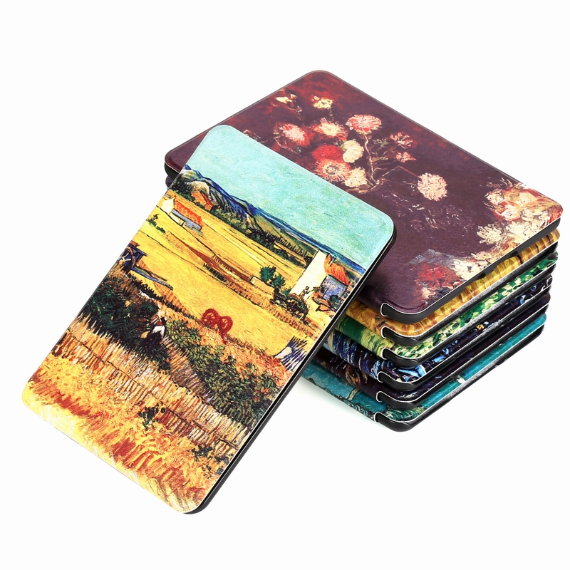 Universal Cover For Amazon Kindle Paperwhite 4 (2018 Released 10th)Van Gogh Design Skin Auto Wake Up/Sleep 6 Inch E-book Case