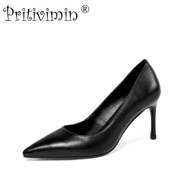 Pritivimin 2018 new spring women elegant genuine leather office dress shoes Fashion high heels ladies disigner black pumps FN167 2017 ladies round toe handmade shoes women genuine leather high heels girls fashion spring autumn office pumps pritivimin fn20