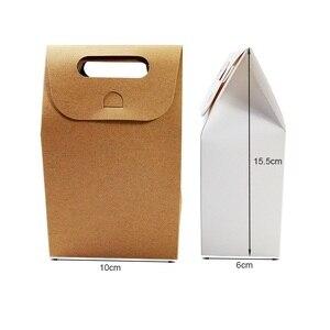 Image 3 - 50 יח\חבילה קינוח אריזת תיבת חתונה חום & לבן קראפט שקית נייר ריק יום הולדת מתנת קופסות ממתקי שקיות עוגת המפלגה ספקי