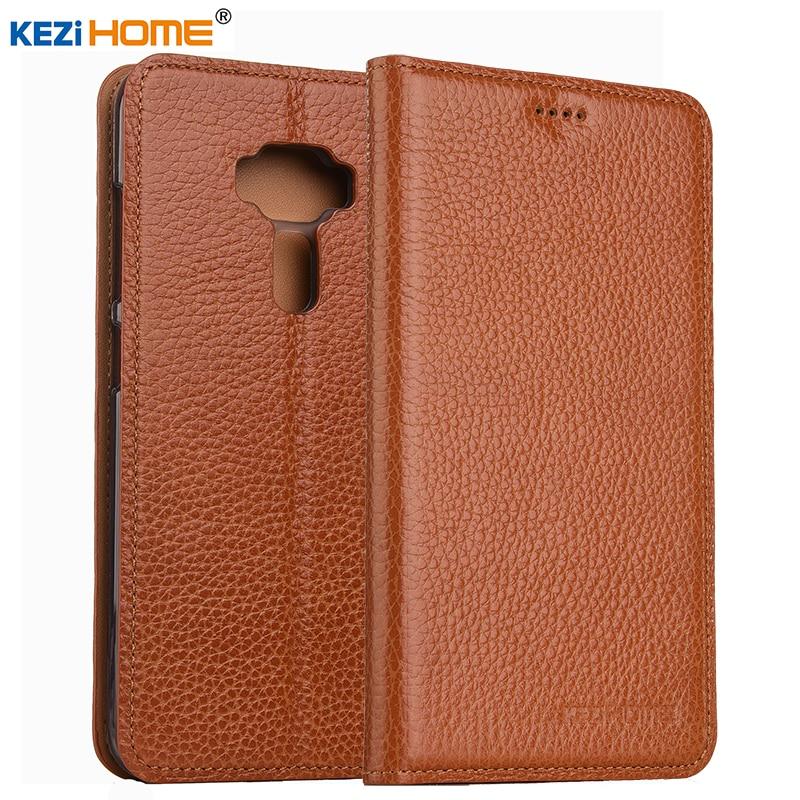 KEZiHOME for Asus Zenfone 3 ZE552KL Flip genuine leather soft silicon back for Asus Zenfone 3 ZE552KL cover