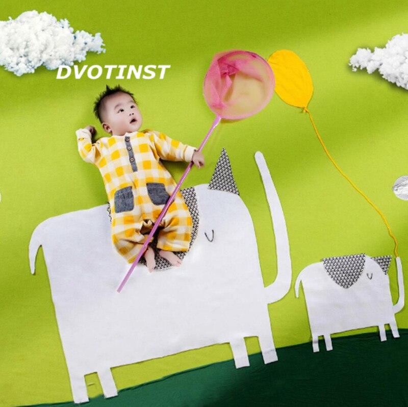 Dvotinst Baby Photography Props Elephant Theme Background Costume Clothes Set Fotografia Accessory Studio Shoot Photo Props
