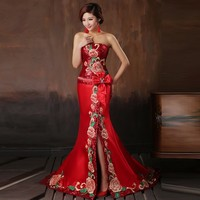 2018 Red Embroidery Cheongsam Long Qipao Dress Chinese Sexy Evening Dresses Fashion Women Showes Modern Elegant Clothes