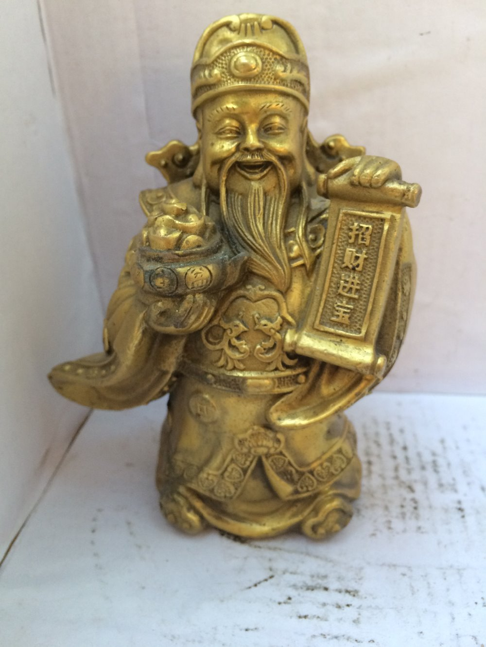 antique antiques chinese brass Carve God of wealth statue