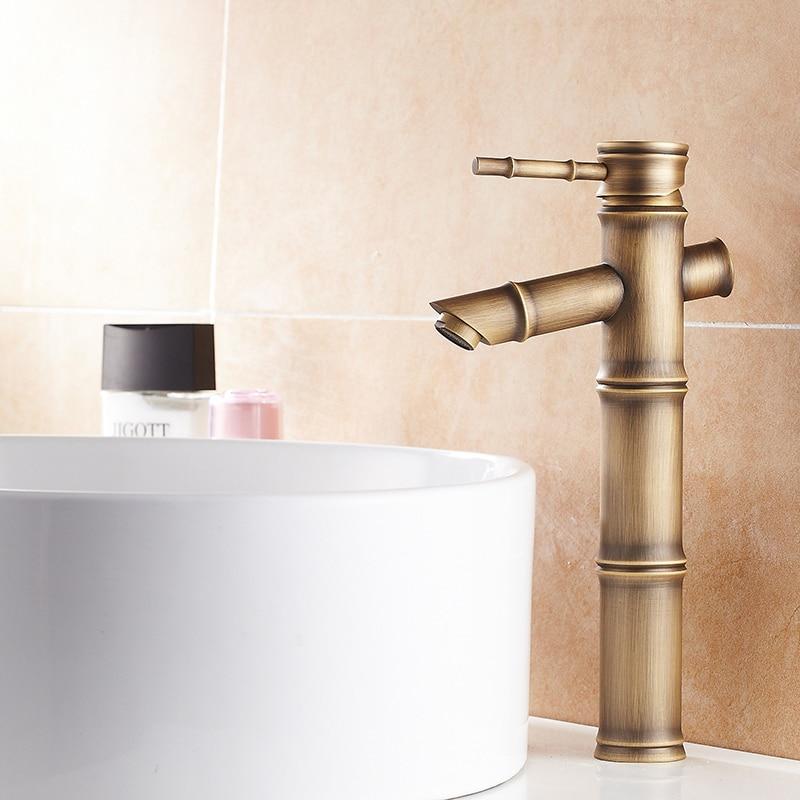 Tall Antique Bamboo Bathroom Faucet