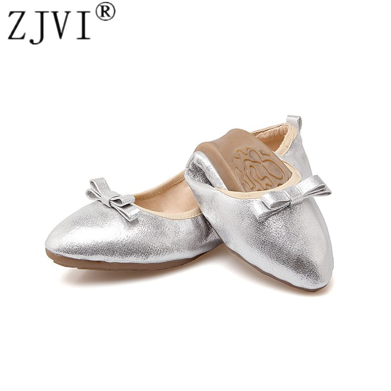 ZJVI Women round toe flats 2018 spring summer flat shoes for woman womens elegant black gold causal shoes ladies Soft sole shoes