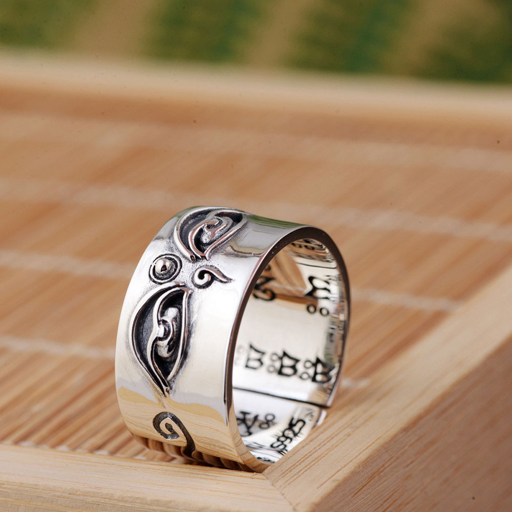 FNJ 925 Silver Buddha Ring Good Luck Original Pure S925 Sterling Thai Silver Rings For Men Women Jewelry Girl Adjustable Size