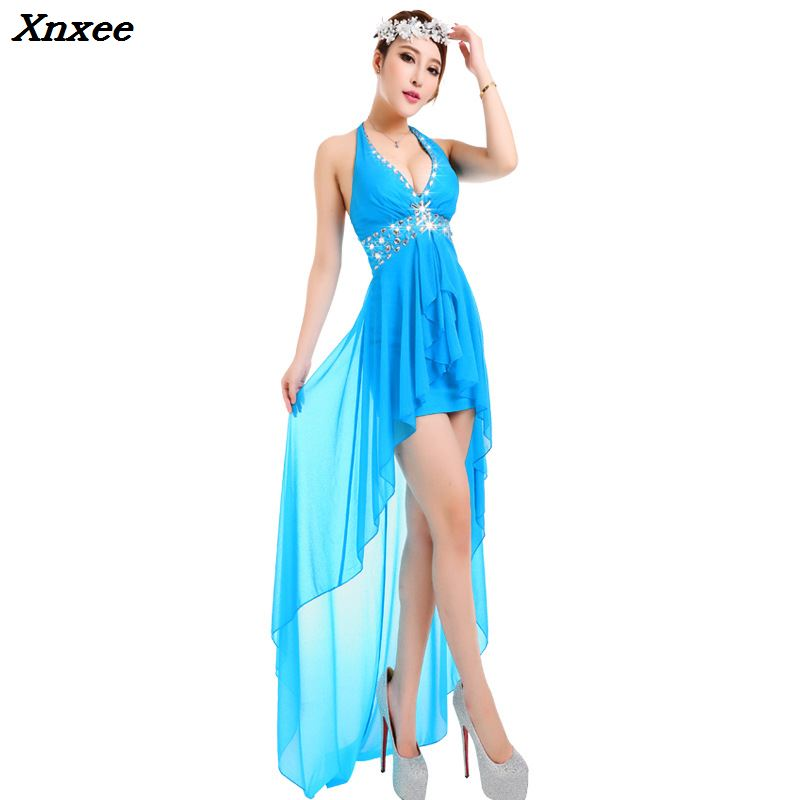 New Halter Women Summer Asymmetrical Chiffon Dress Beach Dresses Sundress Suspenders Sexy Beads Prom Party Dress Club Wear Xnxee