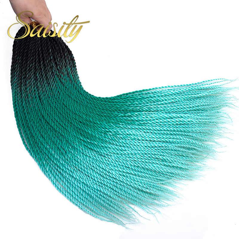 Saisity Ombre Сенегальские скрученные волосы на крючках косички 24 дюйма 20 корней/упаковка синтетические плетеные волосы для женщин серые, синие, розовые, коричневые