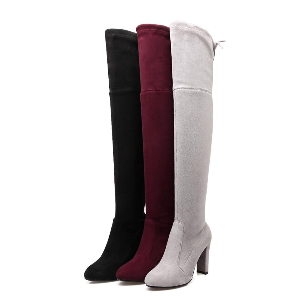 nemaone для женщин стрейч высокие сапоги из искусственной замши пикантные модные ботфорты женская обувь на высоком каблуке черные, серые, цвета красного вина
