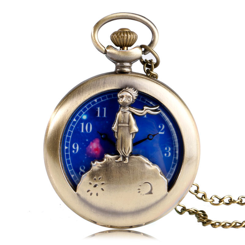 The Little Prince Vintage Bronze Planet Necklace Pocket Watch Blue Space Dial Half Hunter Steampunk Long Pendant Retro Gift Kids