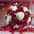 Burgundy/Red wine Handmade Flowers Decorative Artificial Rose Flowers Pearls Bride Bridal Lace Accents wedding brides bouquet br
