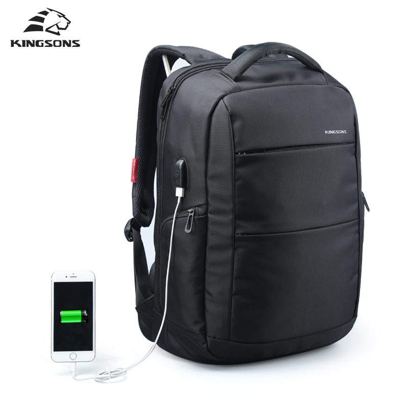 Kingsons External Charging USB Function School Backpack Anti-theft Boy's Girl's Dayback Women Travel Bag 15.6 inch 2017 New