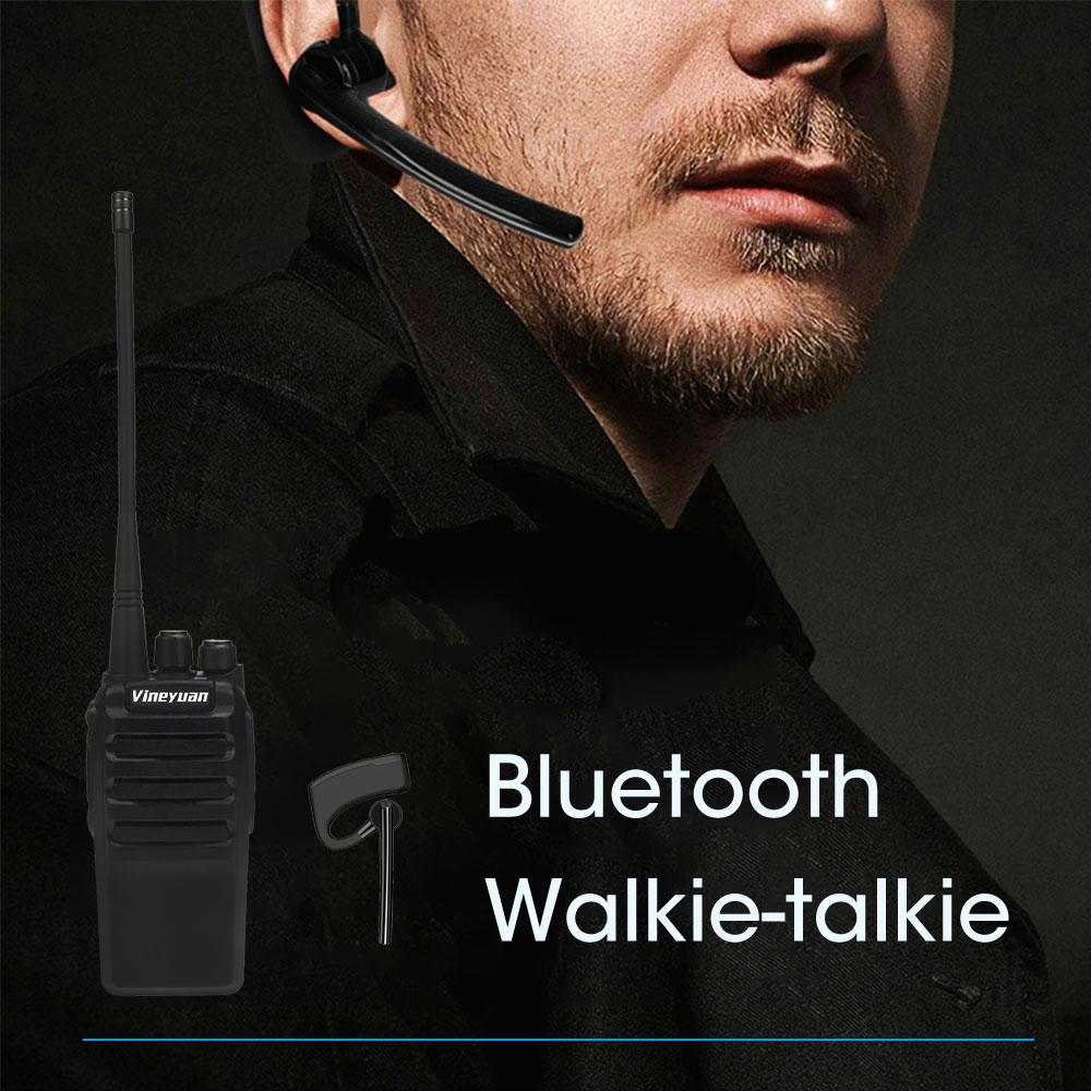 Vineyuan professionnel Bluetooth talkie-walkie 12W UHF 400-470MHz 16 canaux PTT Radio bidirectionnelle + casque écouteur sans fil