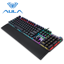 цена на AULA Mechanical Keyboard Metal Panel RGB Backlight USB Wired for PC Laptop Computer Wrist Rest Game Gamer Gaming  Keyboard #2088