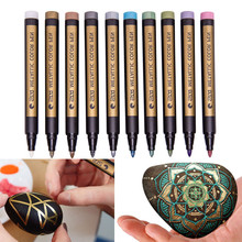 10 Pcs Home Office Supplies Assorted Colored Metallic Permanent Paint Markers Pens Metallic Marker Pens Wholesale *85