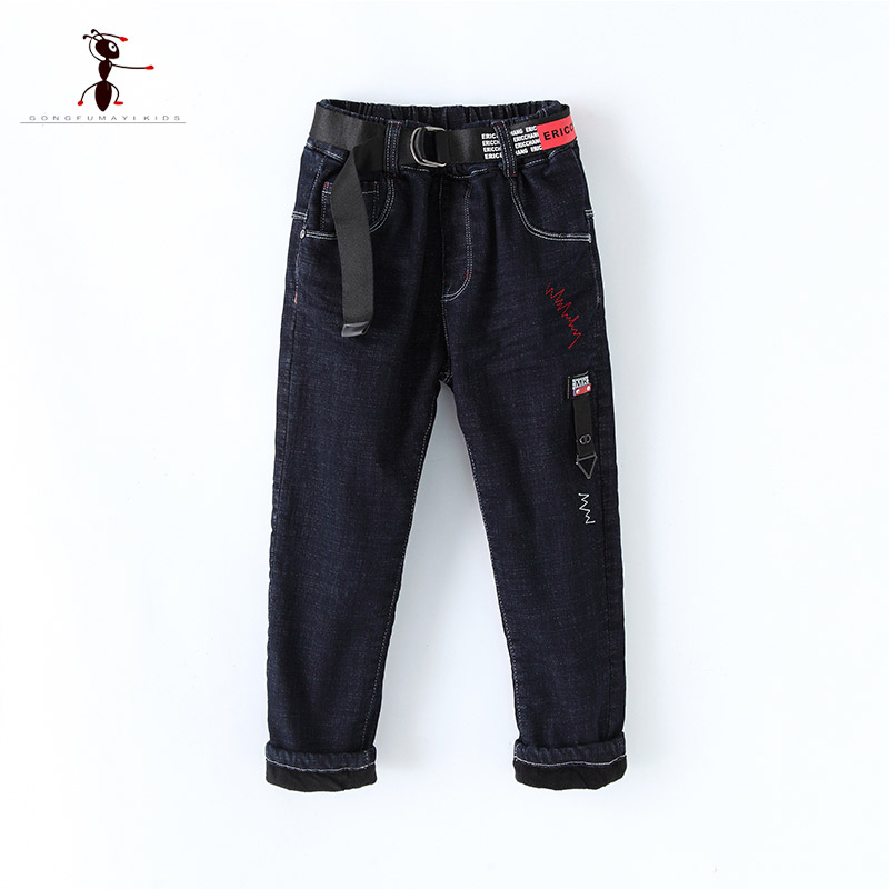 Kung Fu Ant 2017 Autumn Denim Boys Warm Jeans Infantil Fashion Plush Elastic Waist Children Trousers for Kids 7271