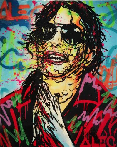 100% fait à la main Alec monopole incroyable impression HD sur toile Graffiti art Michael Jackson 24x36