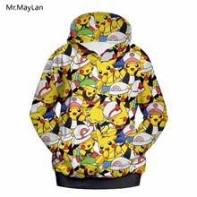 Harajuku Cartoon Pokemon Go Cute Happy Pikachu Print 3D Hoodies Men/Women Streetwear Hat Sweatshirts Boy Jackets Tops Clothes