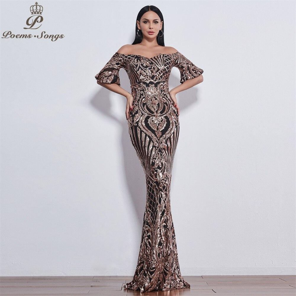 Poèmes chansons nouveau Style élégant luxe robes de soirée longue vestido de festa longo robe de bal robe de soirée robes de soirée - 5