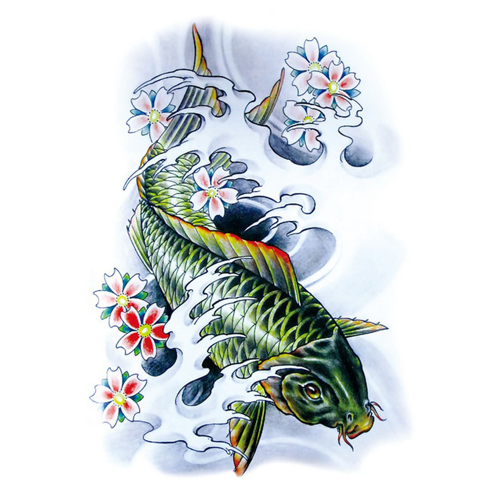 Yeeech Temporary Tattoos Sticker for Men Women Large Fake Carp Fish Plum Designs Cool Arm Leg Back Body Art Waterproof Makeup