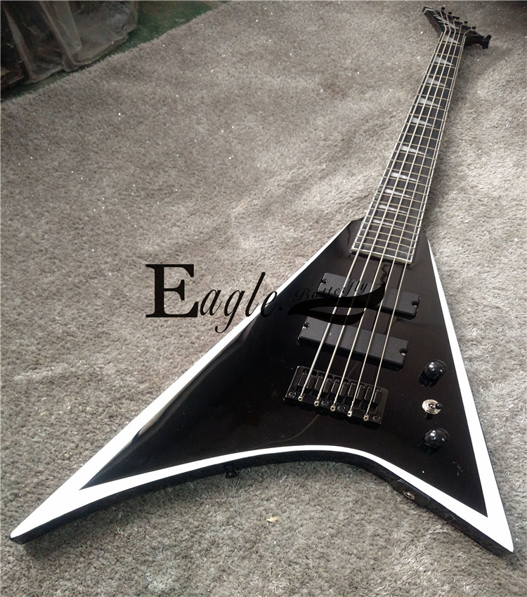Eagle. Butterfly electric guitar, electric bass shop, rock and metal guitar, Jackson Black and white swallow tail electric guita