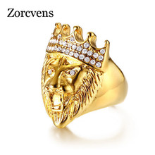 ZORCVENS Gold Color Classic 316L Stainless Steel Men Punk Hip Hop Ring Cool Lion Head Band Gold Ring Jewelry