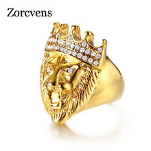 ZORCVENS Gold Color Classic 316L Stainless Steel Men Punk Hip Hop Ring Cool Lion Head Band Gold Ring Jewelry(China)