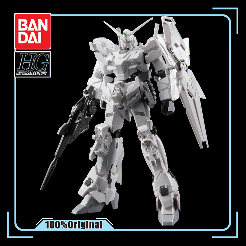 Bandai Odaiba Limited Gundam Base HG 1/144 Unicorn Painting Special Edition All White Action Figure Model Kids Assembled Toys