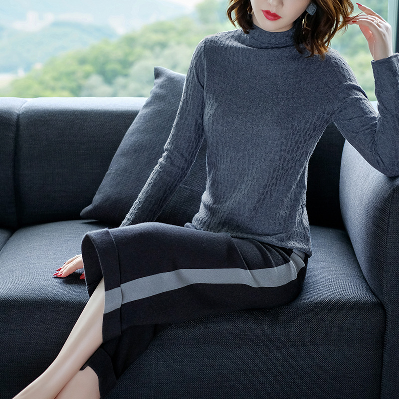 Solid elastic knit turtleneck slim basic sweater 2018 new long sleeve women autumn wool sweater in Pullovers from Women 39 s Clothing