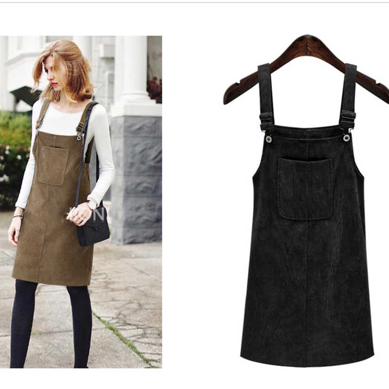 abf87b89022 ... 2019 Women Retro Corduroy Dress Spring Autumn Strap Sundress Sarafan  Loose Vest Overall Dress Female Plus ...