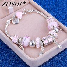 ZOSHI Pink Crystal Charm Silver Bracelets & Bangles for Women With Aliexpress Murano Beads Silver Bracelet Femme Love  Jewelry