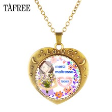 TAFREE Merci Maitresse Pendants Heart Necklaces Personalized Fashion Metal Antique Bronze Plated Statement Teachers Jewelry TH30(China)