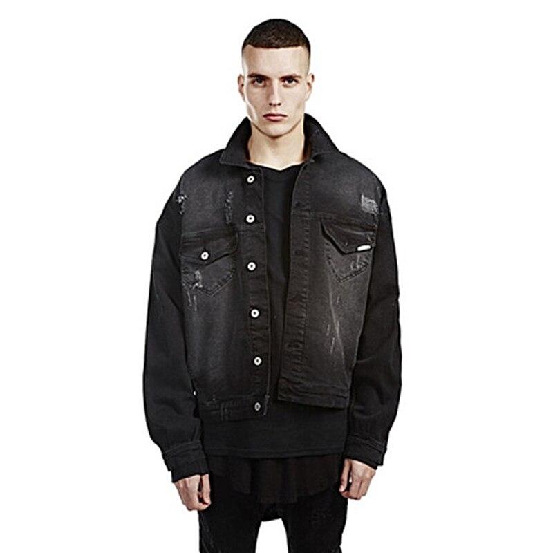 Men Winter denim leather jacket Oversize Denim Coat Kanye West Fear of god Long sleeves Justin Bieber Hip Hop Hole Jackets