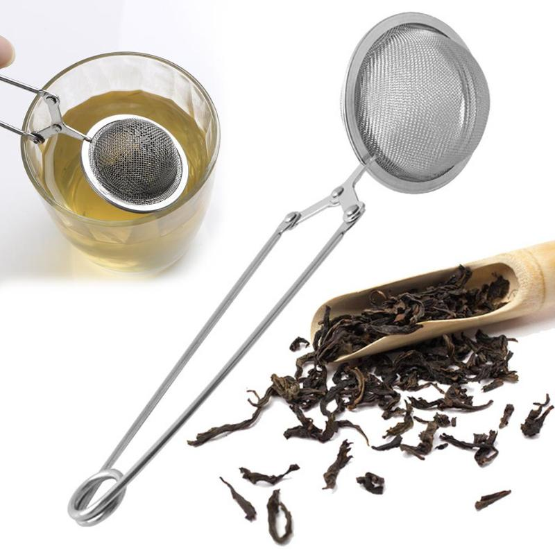 Stainless Steel Handle Mesh Tea Strainer Tea Infuser Coffee Herb Spice Filter Reusable Metal Squeeze Locking Spoon Tea Ball