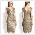 Vestidos robe de Sheath Cocktail Dresses 2016 V-Neck Sleeveless Zipper Knee Length Short Lace Party Dress Prom Dress