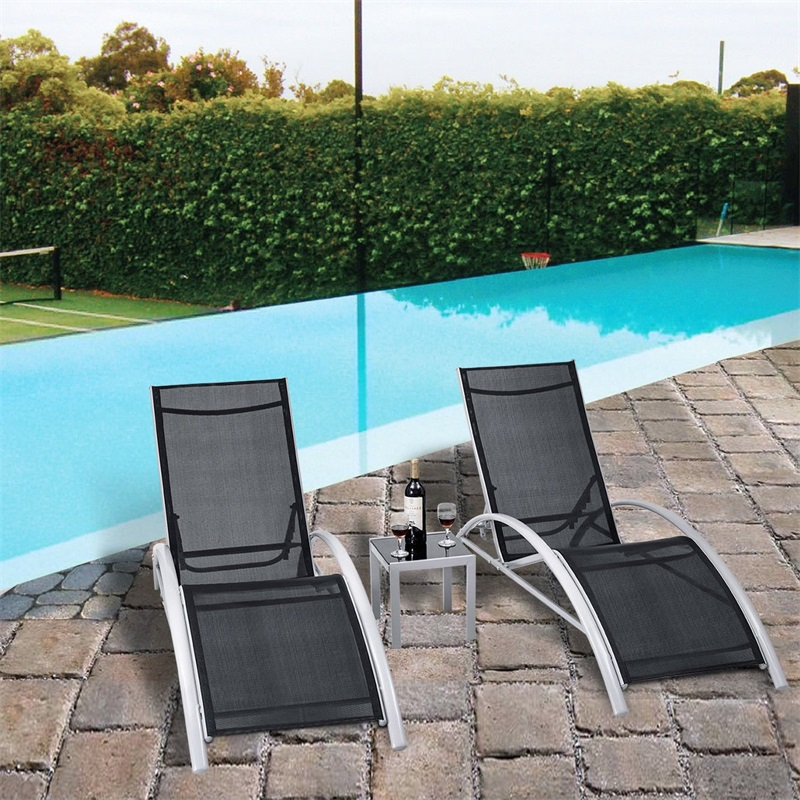 3 Pcs Outdoor Patio Pool Lounger Set 2 Lounge Chairs1 Tempered Glass Table HW56650
