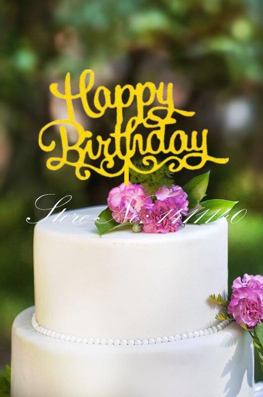 ᗐOro acrílico Feliz Cumpleaños torta de cumpleaños bebé ducha ...