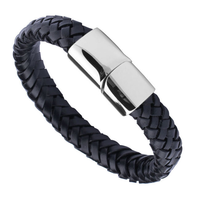New Arrival 11 Width Braided Black Genuine Leather Mens Bracelet With Locking Stainless Steel Clasp Length