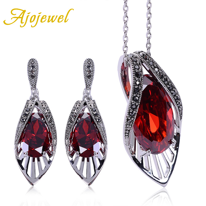 Ajojewel Vintage Bridal Zircon Jewelry Sets Red Earrings Necklace Set Cubic Zirconia Luxury Women Accessories цена
