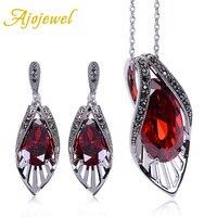 Ajojewel Vintage Bridal Zircon Jewelry Sets Red Earrings Necklace Set Cubic Zirconia Luxury Women Accessories