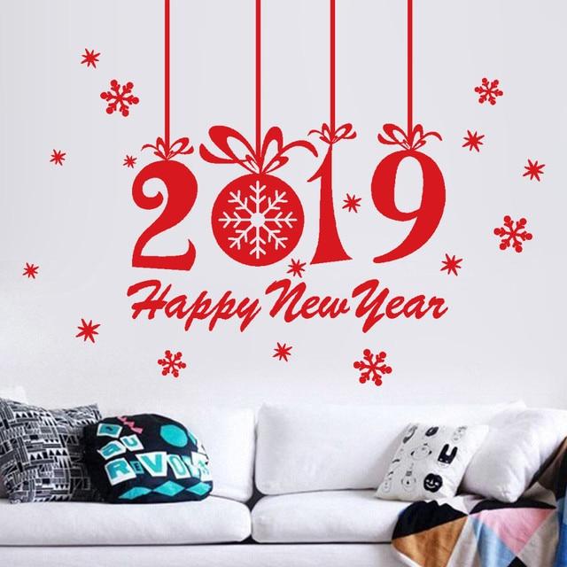 Kakuder Wall Sticker 2019 Happy New Year Decorative Wall Stickers