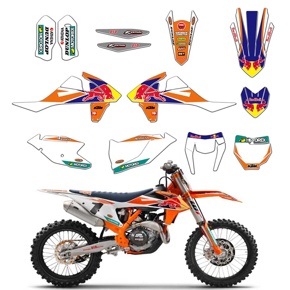 New Bull Full Graphics Decals Stickers Custom Number For KTM 125 250 300 350 450 EXC