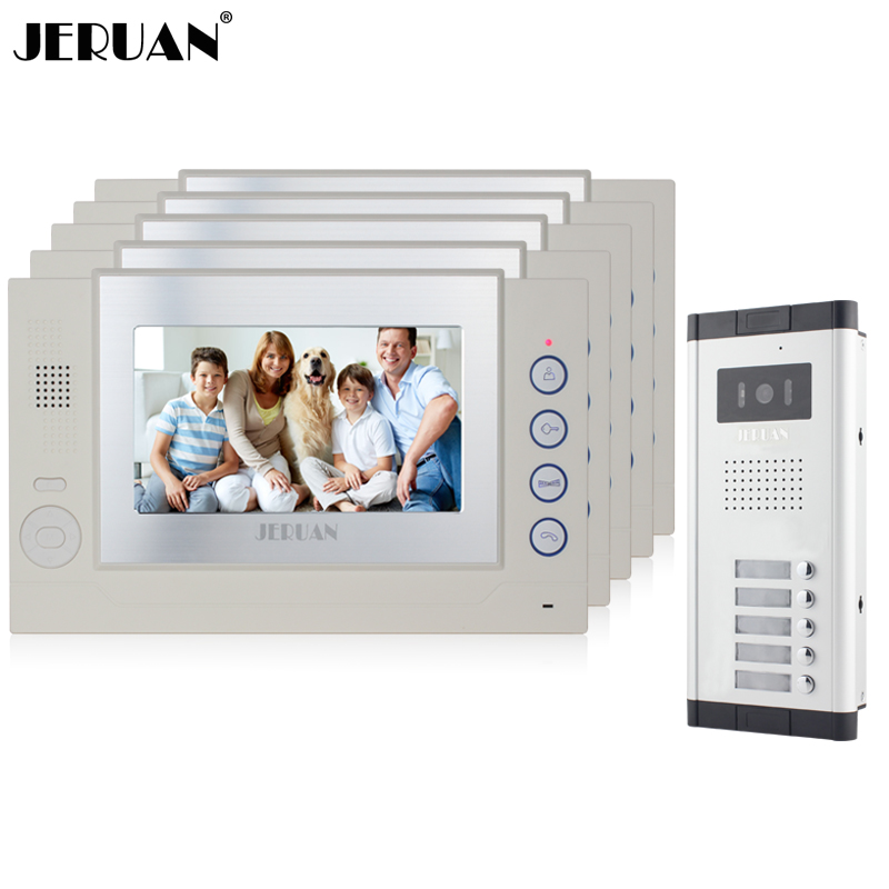JERUAN Apartment White Doorbell 7 inch Video Door Phone Record Intercom System 5 Monitor 1 HD IR COMS Camera for 5 Call button my apartment
