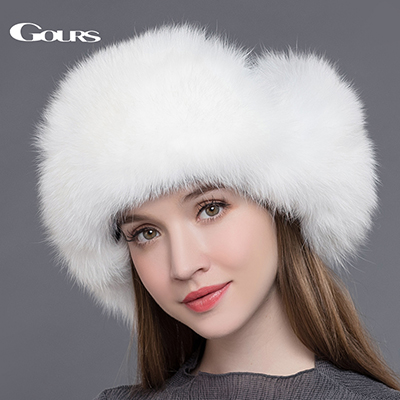 Dropwow Gours Fur Hat for Women Natural Raccoon Fox Fur Russian ... fef1125b74a8