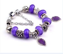 aliexpress hot sale hiphop kpop leaves pendant purple beads christmas xmas new year gift for women brand  diy bracelet
