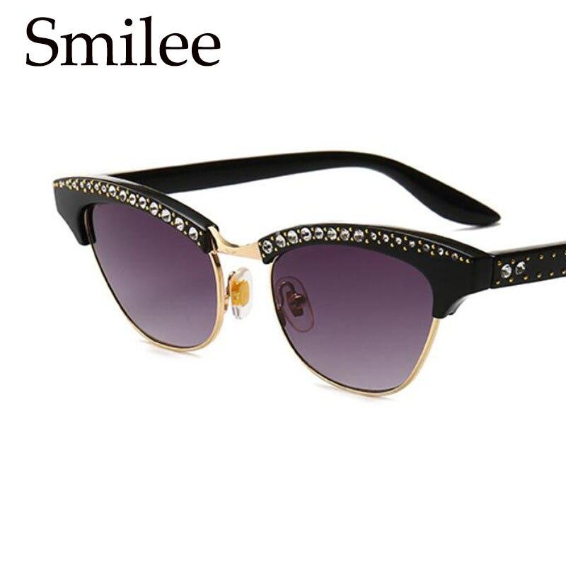 Half Frame Cat Eye Sunglasses Women Brand Designer Vintage Sun Glasses Female Retro Glasses Transparent Eyewear 2018 New 0223