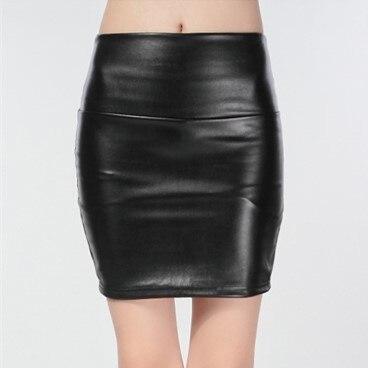 a5b00e6dc801e Printemps Automne Femmes Jupes PU Jupes Dames faux cuir Moulante Solide  Sexy Mini Jupe Droite taille haute jupe courte QX069
